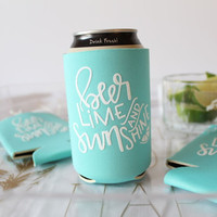 Beer, Lime and Sunshine Can Cooler - Hand-lettered can cooler ***PRE ORDER***