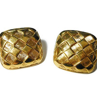 Napier gold earrings, gold textured checkerboard pattern square with rounded corners, post earrings