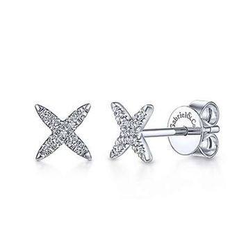 "Gabriel Diamond Pave ""X"" Stud Earrings"