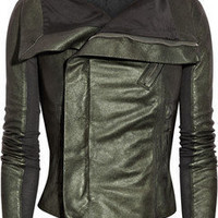Rick Owens | Wool-paneled washed-leather biker jacket | NET-A-PORTER.COM