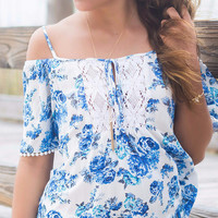 All Smiles White And Blue Floral Print Off The Shoulder Top