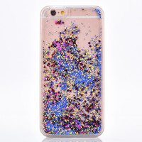 Bright Blue and Gold Glitter with Purple Stars Cascading Confetti Case for iPhone 7, 7 Plus