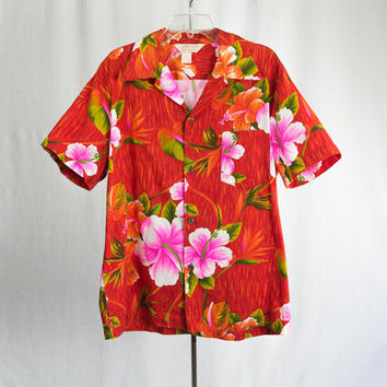 Vintage 1960's Hawaiian Shirt Dayglow Orange and Hot Pink Barkcloth Royal Hawaiian