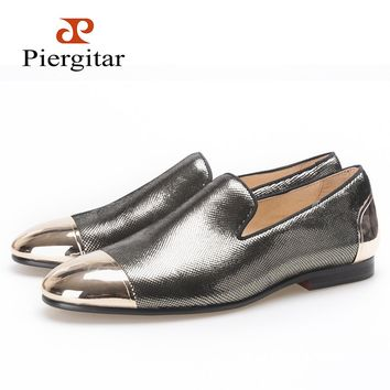 Piergitar new style men shoes with metal toe loafers