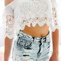 White Elastic Off-Shoulder Lace Crop Top