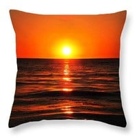 "Bright Skies - Sunset Art Throw Pillow 14"" x 14"""