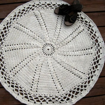 Natural Cotton Crochet Rug Off White  Edith's Doily  by CozyGranny