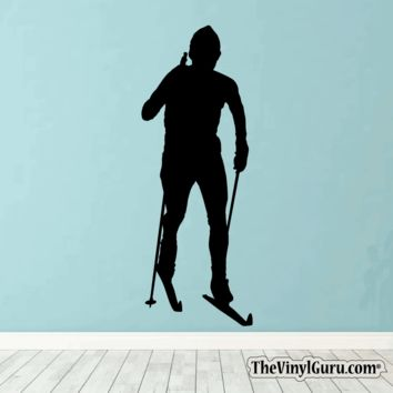 Skiing Wall Decal - Ski Sticker #00015