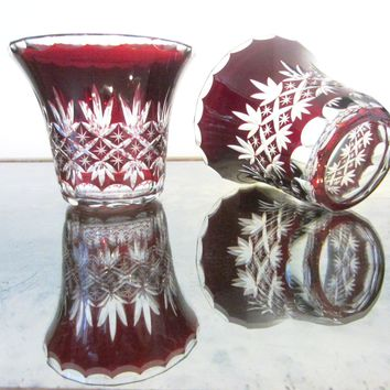 Stevens Williams Cut Overlay Burgundy Glass Bowls Clear Finger Loop