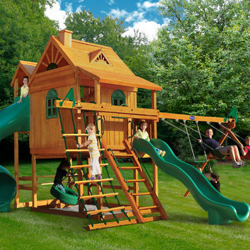 Playnation Mountain Lodge Deluxe Wooden Swing Set