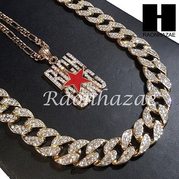 """New 14k Gold PT Rich Gang Pendant 15mm Iced Out Miami Cuban 30"""" Necklace S198"""