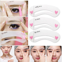 3 styles/set Grooming Stencil Kit Shaping DIY Beauty Eyebrow Template Make Up Tool Hot New 2016