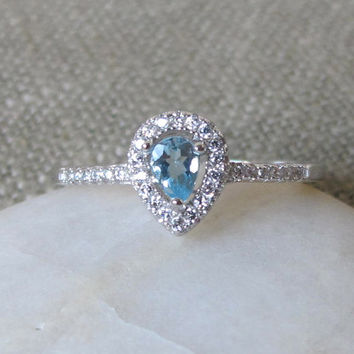 Tiny Aquamarine Ring- Halo Ring- Promise Ring- March Birthstone Ring- Gemstone Ring- Engagement Ring- Petite Ring
