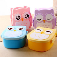 Owl Portable Bento Lunch Box Plastic Cute Cartoon Food Fruit Storage Container