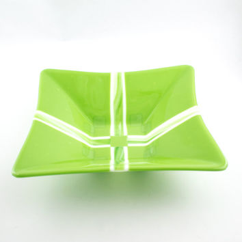 Green and White Fused Glass Bowl, Serving Dish, Square Design, Large Glass Bowl, Fruit Storage, Salad Server, Kitchen Decor, Wedding Gift