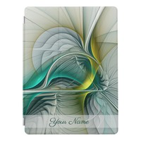 Fractal Evolution, Golden Turquoise Abstract Name iPad Pro Cover