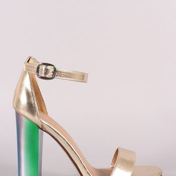 Bamboo Metallic Ankle Strap Chunky Holographic Chunky Heel