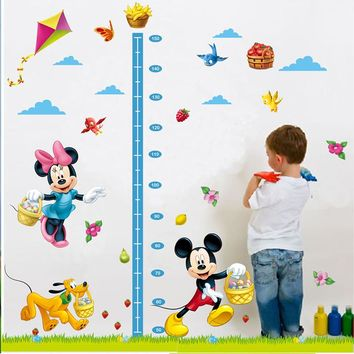 cartoon mickey mouse minnie dog birds diy kids baby nursery bedroom wall sticker height measure growth chat home decor decal