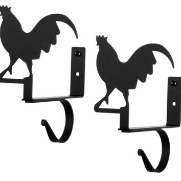 Wrought Iron Rooster Curtain Rod & Shelf Brackets -Set