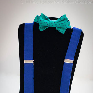 Boy's Bow Tie and Suspender Set - Green and Blue Polka Dot Photography Prop Suspender set for toddlers and little boys (BT-0207) (SP-05)