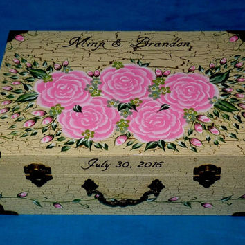 Custom Painted Wood Wedding Keepsake Suitcase Favor Box Personalized Shabby Chic Wedding Guest Box Romantic Graduation Card Envelope Box