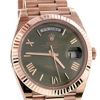 Rolex Day-date 40mm 18k Everose Gold Olive Green Dial Men's Watch 228235