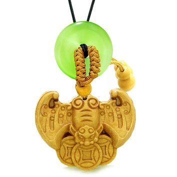Flying Bat Lucky Coins Car Charm Home DecGreen Simulated Cats Eye Donut Protection Powers Amulet