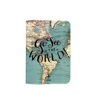 Go See The World World Map [Name Customized] Leather Passport Holder - Leather Passport Cover - Travel Accessory- Travel Wallet for Women and Men_SCORPIOshop