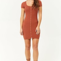 Ribbed Faux-Button Mini Dress