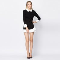 Doll Collar Color Block Ruffle Mini Dress