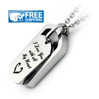 "Unisex Love Gift - Dog Tag Couples Necklace Engraved with ""I Love You with all My Heart"", 18"" Chains Included"