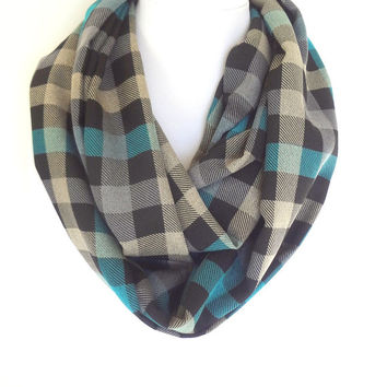 Plaid Infinity Scarf, Teal Infinity Scarf, Checkered Scarf, Gingham Scarf, Zara Inspired Scarf