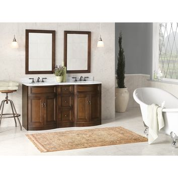 Ronbow Marcello 60-inch Bathroom Vanity Set in Cafe Walnut with Mirror, Marble Top and Backsplash with White Oval Ceramic Sink