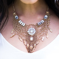 Chained Together Bib Statement Necklace
