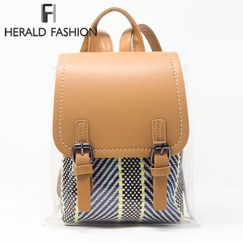 Herald Fashion Women Transparent Backpacks High Quality Hasp PVC Preppy School Bags for Teenage Girls Casual Rucksack Mochila