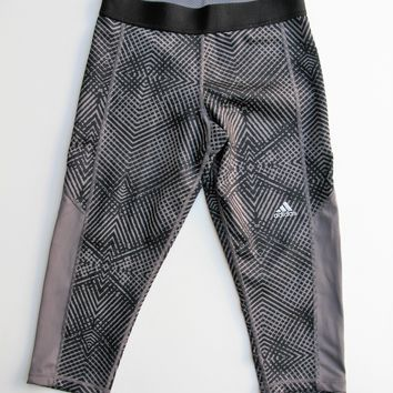 Adidas Tech Fit Medium Compression Geometric Print Capri Leggings S