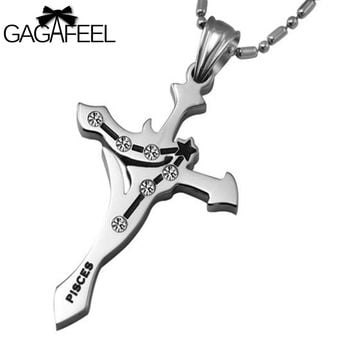Fashion Vintage Men Women Titanium Stainless Steel Cross Pendant Necklaces Silver Color Crystal Fine Jewelry Zodiac Pisces Gifts
