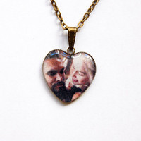 Khal Drogo (Jason Momoa) and Khaleesi Daenerys Targaryen (Emilia Clarke) - Game of Thrones Jewelry - Handmade Vintage Cameo Pendant Necklace