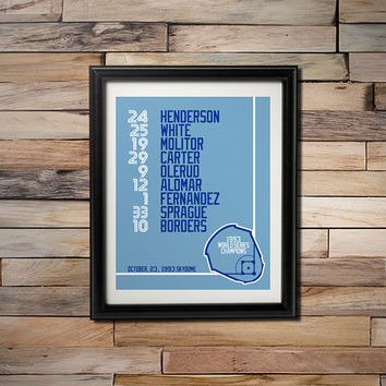1993 World Series Champions -  Toronto Blue Jays Skydome Game 6 Starting Line Up 16X20 Poster
