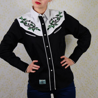Roper western shirt unisex / women's western pearl snap western shirt with horseshoe embroidery / Denver, Colorado