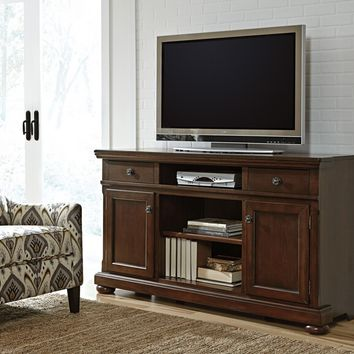 Porter collection casual style rustic brown finish wood tv stand