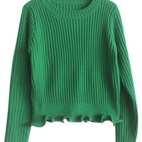 Long Sleeves Scalloped Cropped Knit Sweater