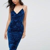 Club L Velvet Cami Strap Midi Bodycon Dress at asos.com