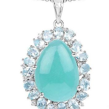 Ethically Mined Natural 13.28CT Minty Blue Green Amazonite & Blue Topaz Pendant Necklace