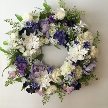 Mother's Day Wreath - Spring Wreath with Purple and White Flowers - Funeral Wreath - Wedding Wreath - Memorial Wreath - Bridal Wreath -