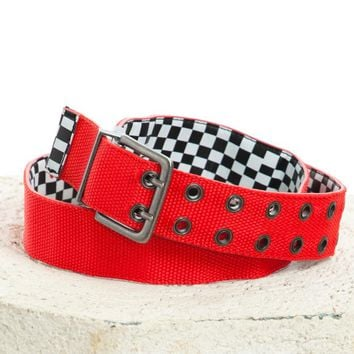 Vintage Y2K Reversible Red to Check It Out Belt - One Size Fits Many