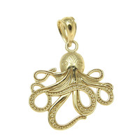 SOLID 14K YELLOW GOLD SHINY HAWAIIAN OCTOPUS CHARM PENDANT 17MM