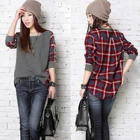 Plus Size Fashion Womens Splicing Long Sleeve Batwing Plaid Blouse Tee Shirt Tops Casual(S-5XL Black Gray)