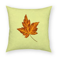 "Fall Leaf 18""x18"" Artistic Throw Pillow"