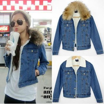 women s real fur collar berber fleece denim jacket 911